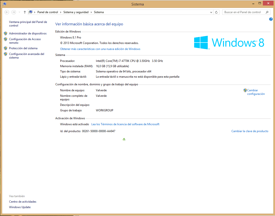 Cómo conocer la información del sistema en Windows 8 b