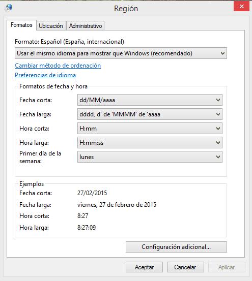 cambiar los formatos de fecha, hora y número en Windows 8 c