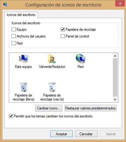 no aparece la papelera de reciclaje en Windows 8 b