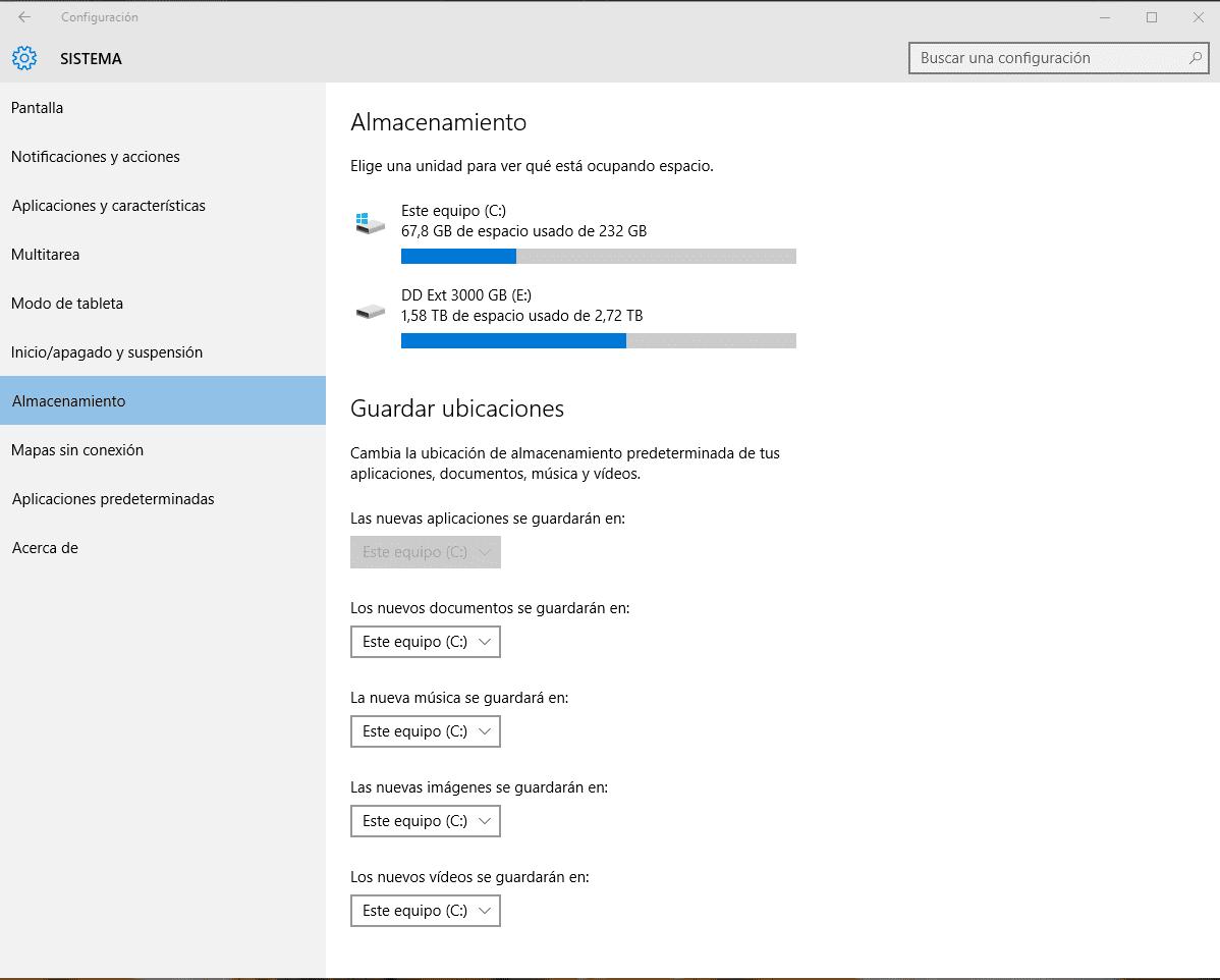 opciones de configuración de almacenamiento en Windows 10