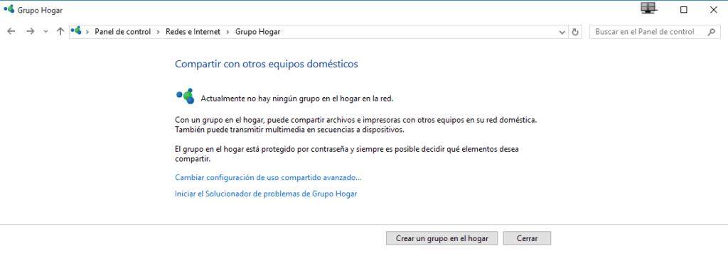 Crear un grupo en el hogar con Windows 10 b