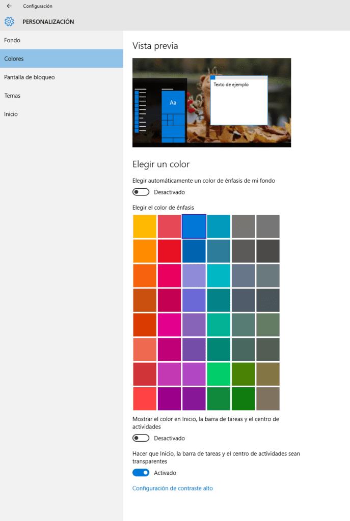 Cómo cambiar los colores en Windows 10 b