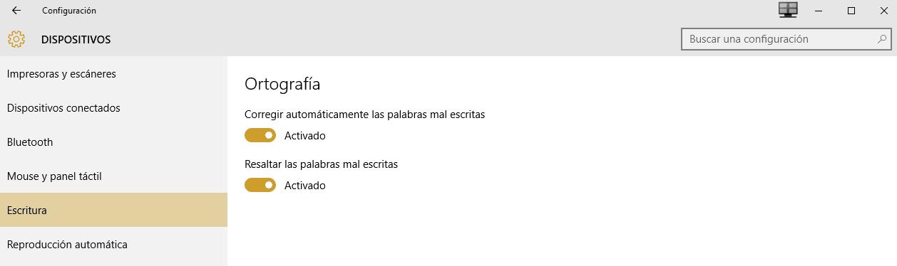 Cómo activar o desactivar el corrector de Windows 10