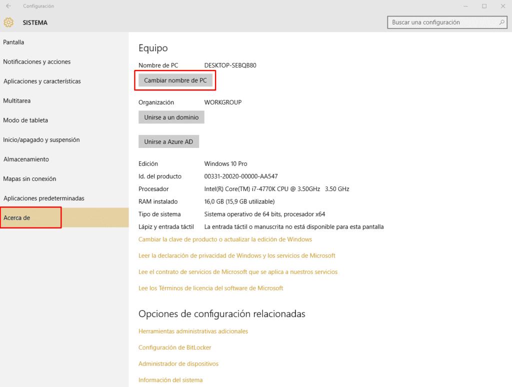 Cómo cambiar el nombre del PC en Windows 10 b
