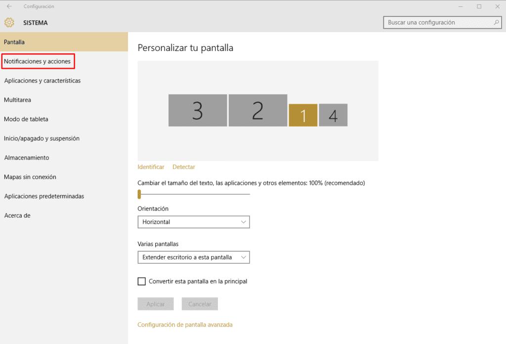 Como configurar las notificaciones y avisos de Windows 10