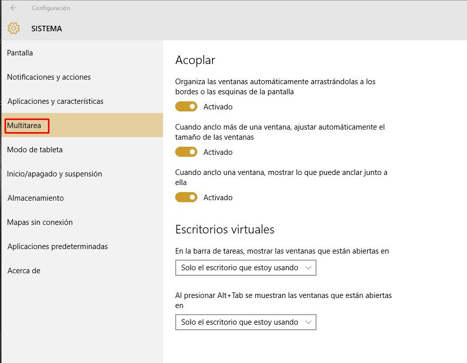 Evitar que las ventanas se coloquen automáticamente en Windows 10