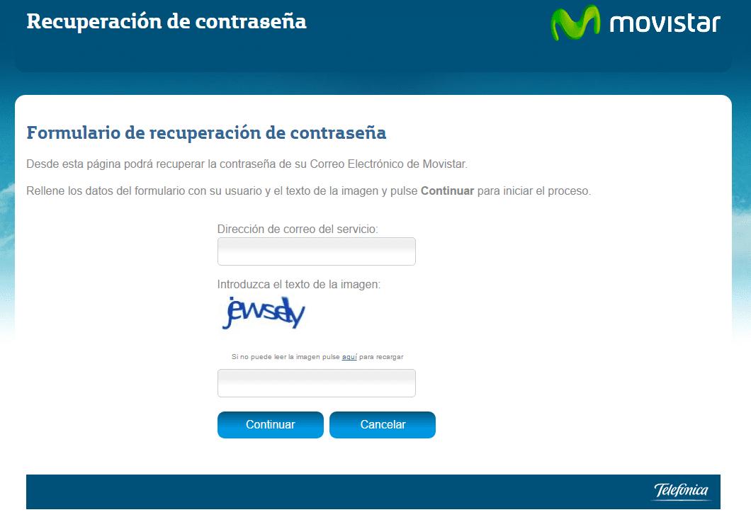 Recuperar contraseña del correo Movistar