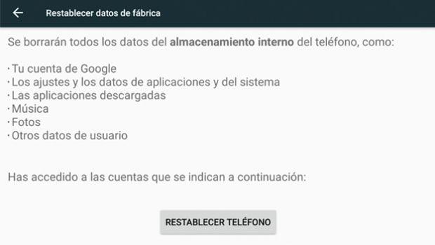 Restablecer Android de fábrica