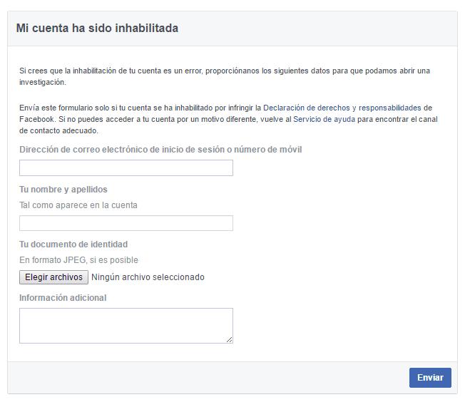Desbloquear una cuenta de Facebook