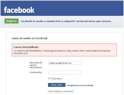 Activar una cuenta de Facebook inhabilitada