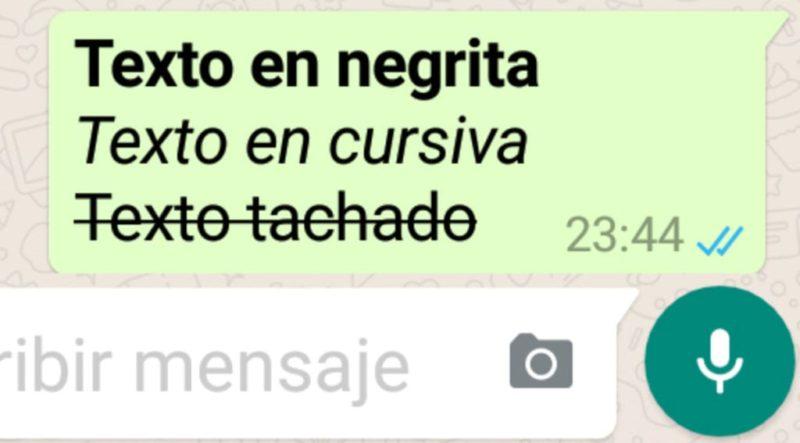Negritas, cursivas y subrayados en WhatsApp