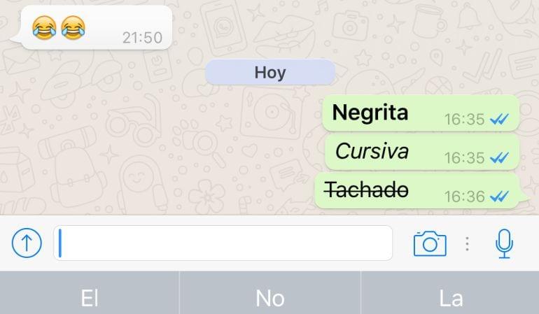 Tachar negritas y cursivas en WhatsApp