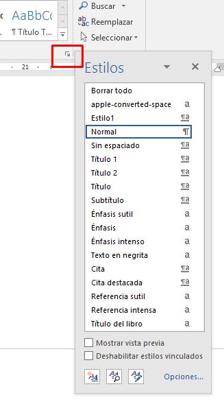 Nuevos estilos índice de Word