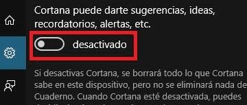 desactivar o activar Cortana en sistemas Windows