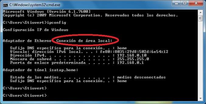 ipconfig para ver si la IP es 192.168.0.1