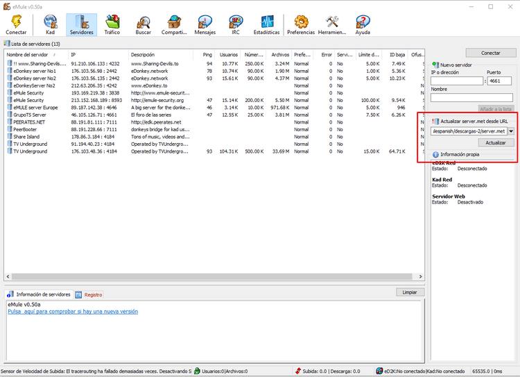 Actualizar servidores eMule