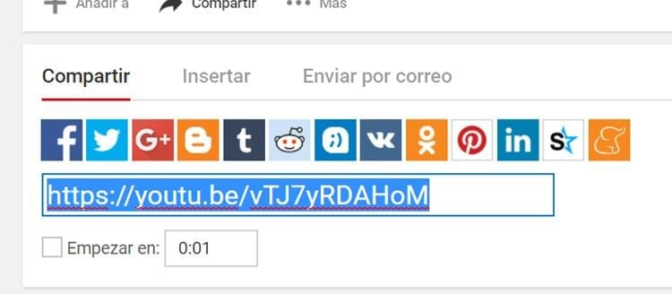 Enlace para compartir de YouTube