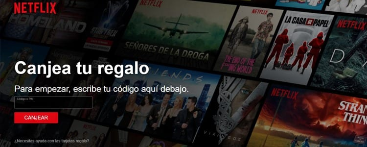 Canjear tarjetas regalo Netflix