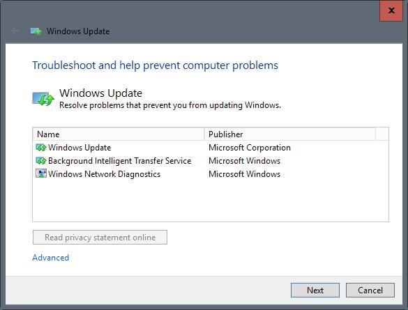 Solucionador de problemas Windows Update