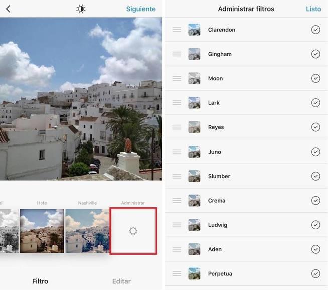 Administra los filtros de Instagram