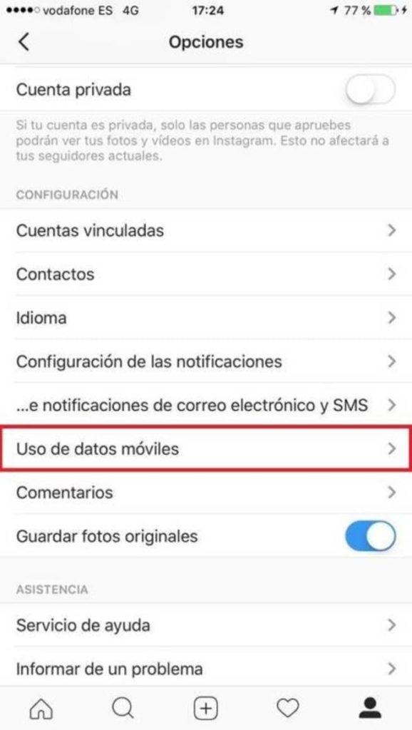 Desactivar reproducción automática de vídeos en Instagram
