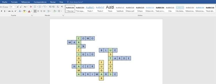 Cómo hacer un crucigrama en Word