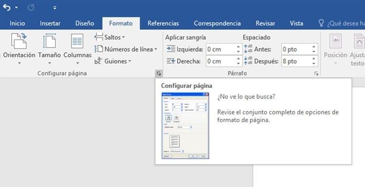Cambiar la configuración de una página en Word