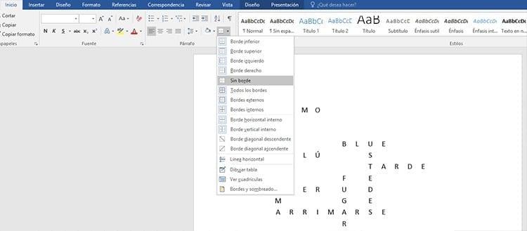 Eliminar los bordes del crucigrama en Word