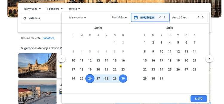 Google Flights fechas