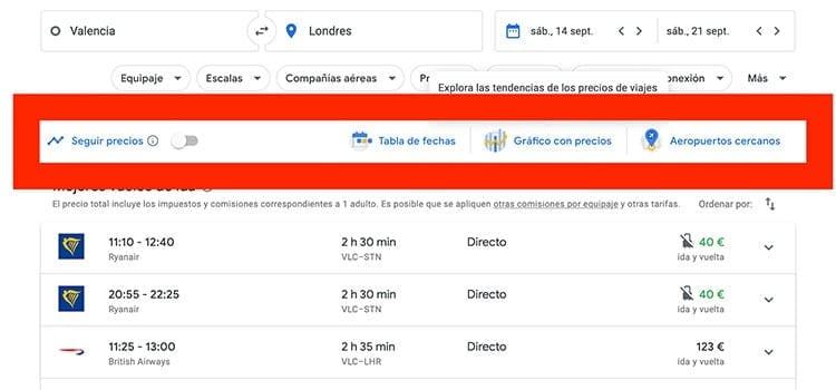 Google Flights filtro