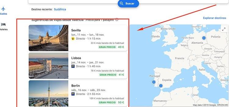 Google Flights mejores precios