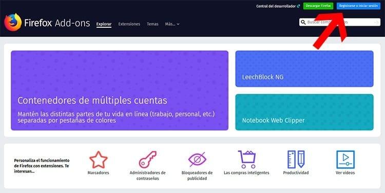 Registrarse Firefox Add-ons