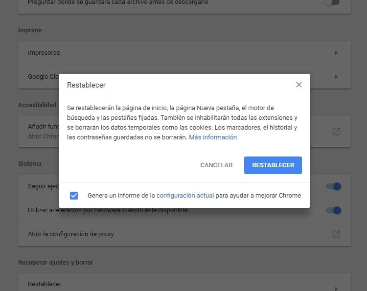 Restablecer Google Chrome
