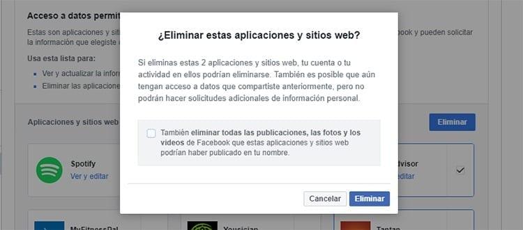 Eliminar app terceros Facebook