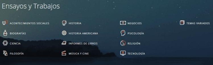 Listado de categorías de Buenastareas.com