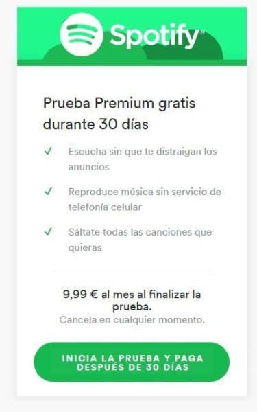 Prueba gratuita de Spotify Premium