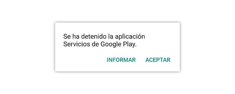 Mensaje servicios de google play