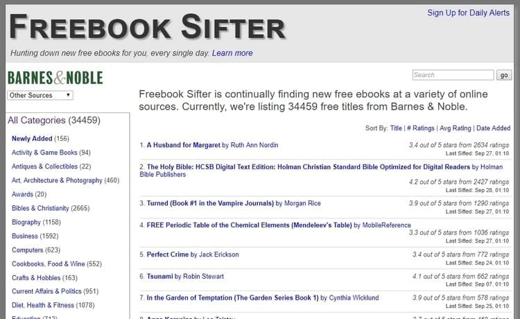 Freebook sifter