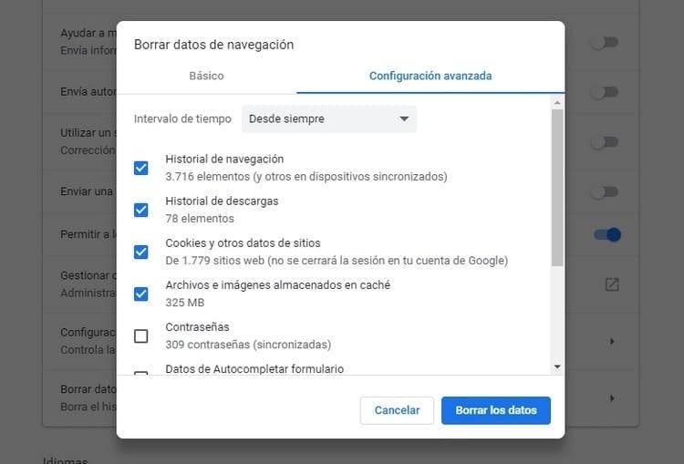 Borrar datos de navegación de Google Chrome