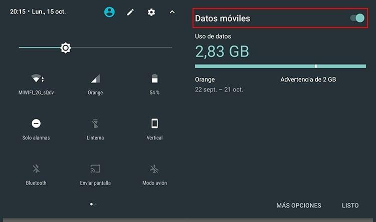 Deshabilitar datos móviles