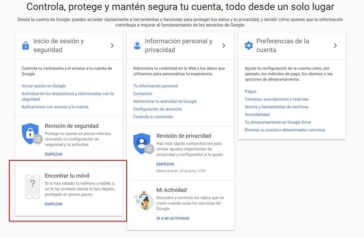 Cómo rastrear un celular Android con Google b