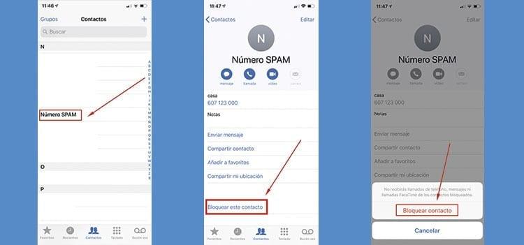 Cómo eliminar un número SPAM en el Iphone
