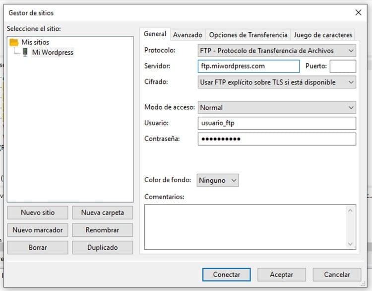 Conectar FTP - Filezilla