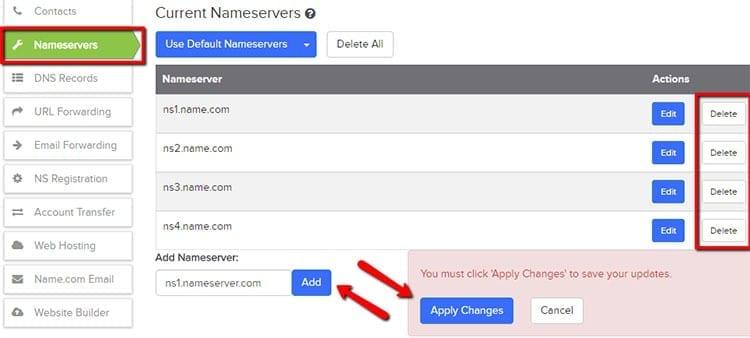 Configurar DNS en name.com