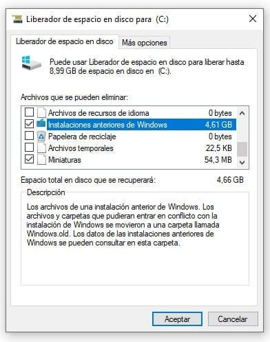 Eliminar instalaciones anteriores de Windows con el liberador de espacio