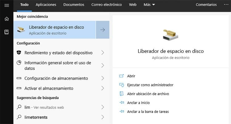 Liberador de espacio en disco de Windows 10