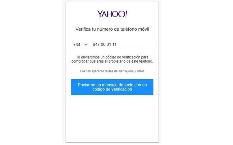 pantalla de verificación de yahoo.es correo