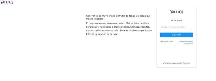 rellena el formulario de yahoo.es correo