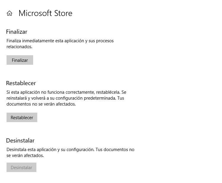 Restablecer Microsoft Store