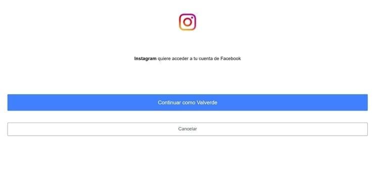 Acceder a Instagram con Facebook